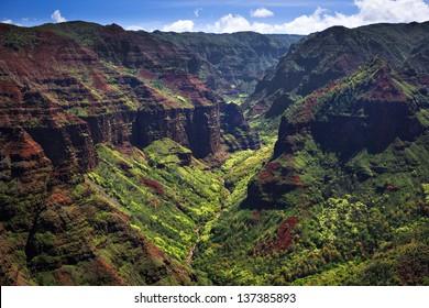Beautiful Waimea Canyon  from the air in Kauai