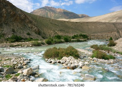 Beautiful Wakhan valley near Langar, Pamir Mountain Range, Tajikistan