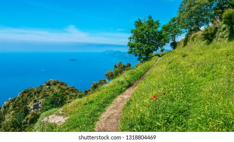 A beautiful walking trail called Path of the Gods, with spectacular panoramic views of the the Mediterranean Sea along the Amalfi Coast in Italy.