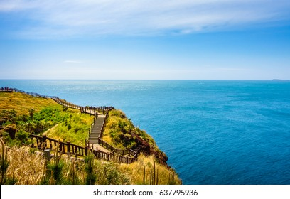 Beautiful Walkway with Ocean View in Songaksan Mountain, Jeju Island.