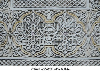 Beautiful wall carving with intrigue islamic pattern.
