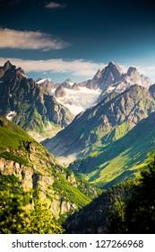Beautiful walley in Caucasus mountains in Upper Svaneti, Georgia