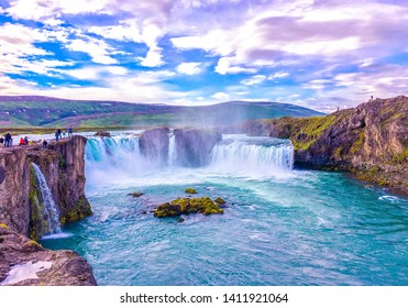 Beautiful wallpaper of magical waterfall. Godafoss, One of the most famous waterfalls in Iceland. Famous tourist attractions and landmarks destination in Icelandic nature landscape on South Iceland.