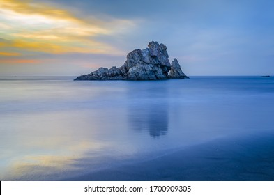 Beautiful walpaper of blue sky and sea with rock mountain.