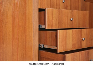 Beautiful wardrobe with drawers, closeup