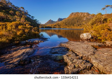 Beautiful warm light over Lake Lilla.Cradle Mountain Lake St Clair National Park,Central Highlands of Tasmania,Australia.