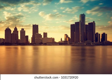 Beautiful warm sunset skyline of Detroit, USA from Windsor Ontario, Canada.