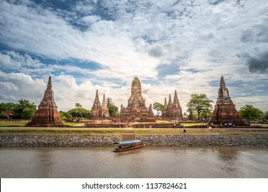 Beautiful Wat Chaiwatthanaram view from the river. Wat Chaiwattanaram is one of the most magnificent and well preserved temple ruins in Ayutthaya, Thailand. UNESCO World Heritage Wat Chaiwatthanaram