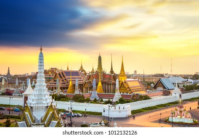 The beautiful of  Wat Phra Kaew or Wat Phra Si Rattana Satsadaram at twilight,This is an important buddhist temple and a famous tourist destination, It is located in the historic centre of Bangkok.