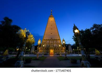 Beautiful Wat Phrathat Nong Bua in Ubon Ratchathani province, Thailand.