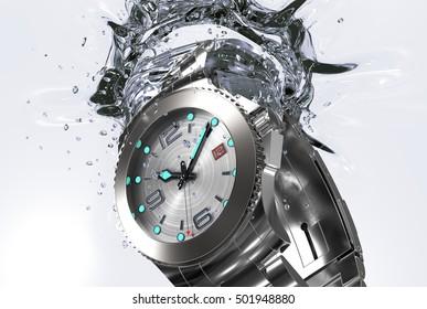 beautiful watch falling in water , 3d illustration