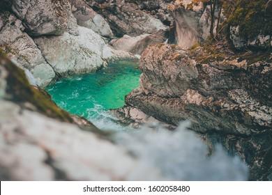 Beautiful water cascades or small waterfall in the valley of Lepena in Slovenian Julian Alps. Emerald green waterfalls in an enchanted forest. Sunikov vodni gaj. - Shutterstock ID 1602058480