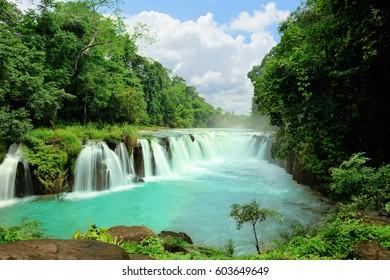 Beautiful water fall, Tad pha suam waterfall, Champasak, southern Laos