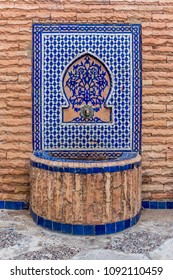 Beautiful water fountain decorated with moroccan tiles