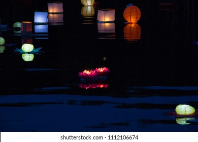 beautiful water lanterns of different colors