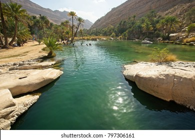 Beautiful water scenery at the Wadi Bani Khalid, Oman where tourist and local go for picnic.