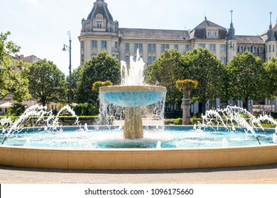 The beautiful water splashes of the fountain in the historical center of Debrecen, the famous spa resort city in Hungary