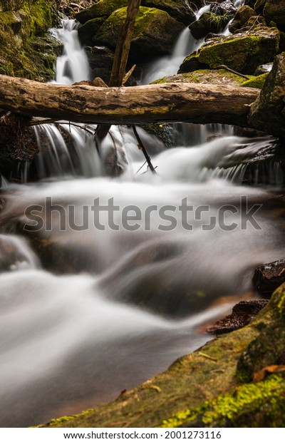 Beautiful water stream in Gresso river Portugal. Long exposure smooth effect.
