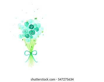 Beautiful Watercolor cactus set over white background for design