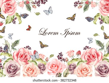 Beautiful watercolor card with roses flowers and berries. Butterflies and plants.  Illustration