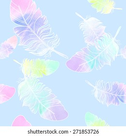 Beautiful watercolor feather pattern - illustration