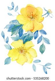 Beautiful watercolor flowers.