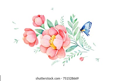 Beautiful watercolor flowers,leaves,branches and butterfly.Can be used for your project,greeting cards,wedding,Birthday cards,bouquets,wreaths,invitations,logo,patterns etc