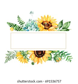 Beautiful watercolor frame border with sunflowers,succulent,leaves,branches,fern leaves etc.Handpainted illustration.Can be used for greeting card,wedding,Birthday and baby cards,invitations,lettering