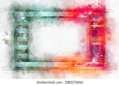 Beautiful watercolor frame. A bright splash of flowers isolated on white.