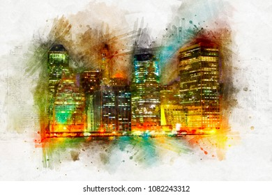 Beautiful watercolor night city with skyscrapers. A bright splash of flowers isolated on white.