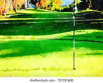Beautiful Watercolor painting of Hole Number one at the golf course