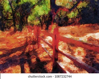 beautiful Watercolor painting of the serence countyside Of carmel Valley