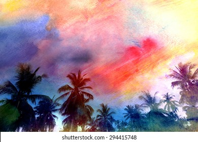 Beautiful watercolor palm trees in Asia on the tropical island