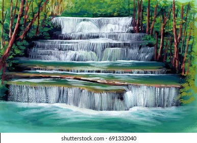 Beautiful waterfall among the fresh greenery in tropical forest hand painting by poster color