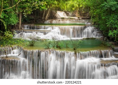 Beautiful waterfall in autumn forest