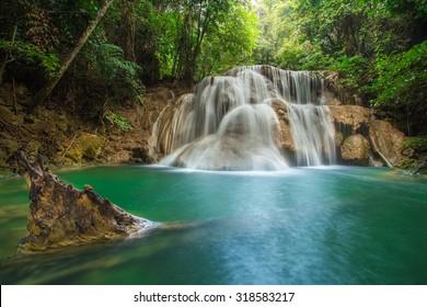 Beautiful waterfall in autumn forest, deep forest waterfall, Kanchanaburi province, Thailand
