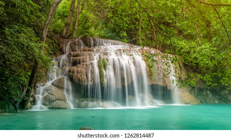 Beautiful Waterfall in autumn forest at Erawan National Park, Thailand