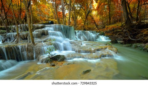 Beautiful waterfall in the autumn forest at Kanchanaburi province, Thailand. Huay Mae Kamin Waterfall.