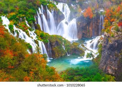 Beautiful waterfall autumn in  Plitvice National Park, Croatia
