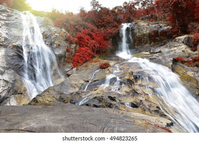 beautiful waterfall in autumn season at Ton Nga Chang waterfall, National park in Hat Yai district, Songkhla province, Thailand