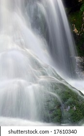 beautiful waterfall in bohemian forest