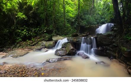 Beautiful waterfall in Borneo jungle