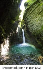 beautiful waterfall called slap kozjak in Slovenia, Europe