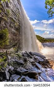 Beautiful Waterfall in the Canaima Lagoon, Canaima National Park, UNESCO World Heritage Site, Venezuela, South America