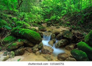 The beautiful waterfall in deep forest during rainy season in Thailand