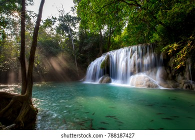 Beautiful waterfall  in deep forest, Erawan National Park in Kanchanaburi, Thailand