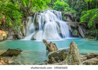 Beautiful waterfall in deep forest of Thailand, Huay Mae Khamin waterfall