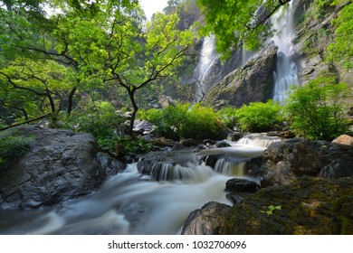 Beautiful waterfall in the deep forest. Tropical rainforest.