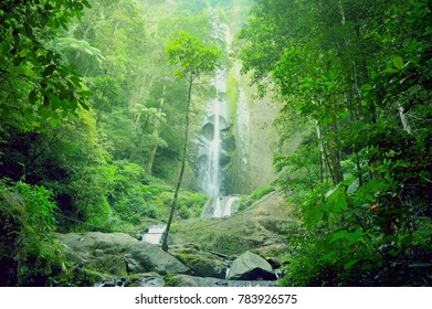 Beautiful waterfall in east java, Indonesia during the morning.