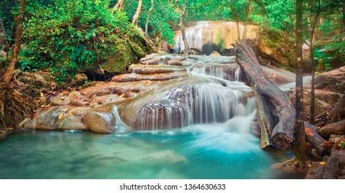 Beautiful waterfall at Erawan national park, Kanchanaburi Province in west Thailand. Panorama